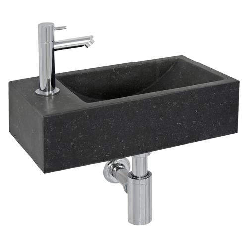 Lave-mains Aquazuro Fiora pierre naturelle noir 40cm