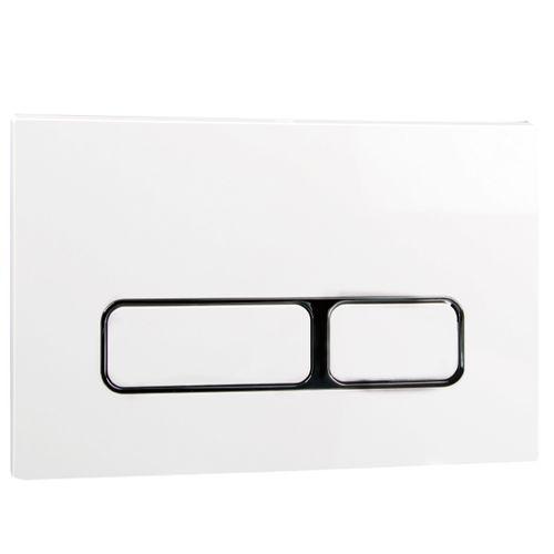 Panneau de commande 2 boutons Aquazuro rectangulaire chrome/blanc