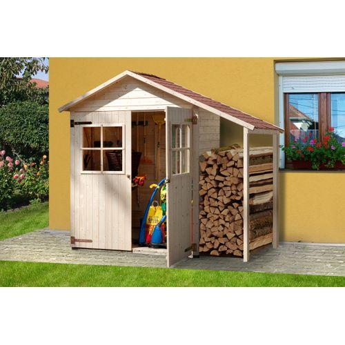 Armoire de jardin + auvent Weka '357A' brun 245 x 216 cm