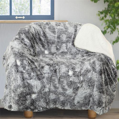 Plaid 'Fleece' gris polyester gris 130 x 170 cm