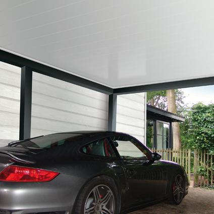 Revêtement de carport HDM 'Outdoor' PVC titane blanc 10 mm