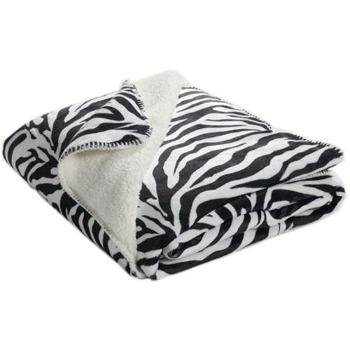 Plaid 'Zèbre' flanelle noir/blanc 130 x 170 cm