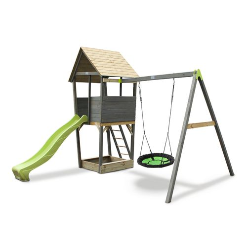Tour de jeu en bois EXIT Aksent avec balançoire nid - gris