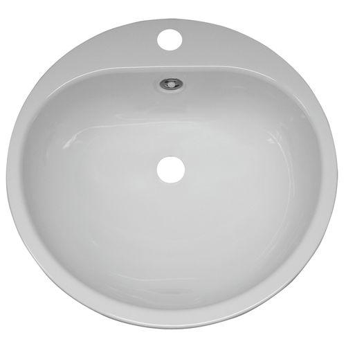 Baseline inbouwwastafel rond staalplaat wit 47,5x47,5cm