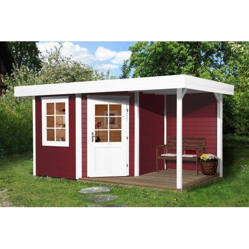 Weka tuinhuis met overkapping 213 Type A GR1 rood 238x396cm