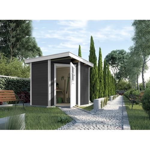 Blokhut Quinta Gr. 2 270 x 270cm antraciet/wit