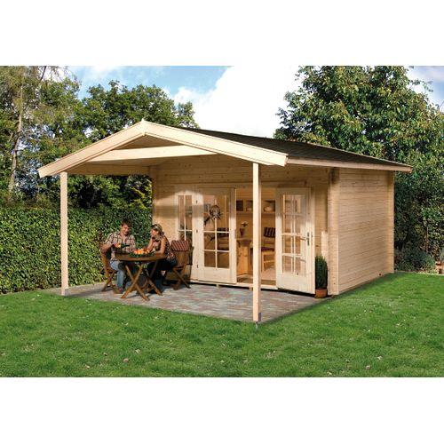 Weka tuinhuis met overkapping 137 Type A GR1 380x500cm