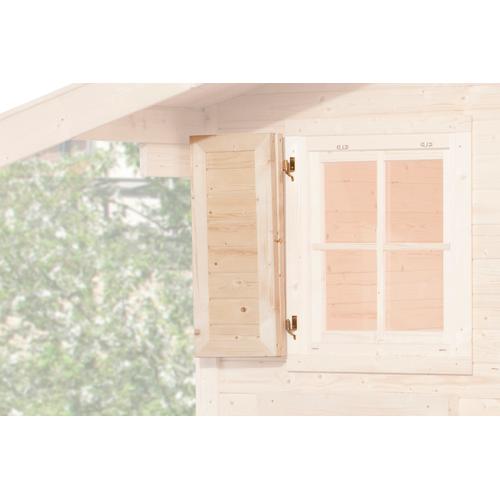 Geef het raam van je tuinhuis een heel eigen karakter met het extra vensterluik 1-zijdig van Weka. Dit raamluik is gemaatk van onbehandeld Noord-Europees vurenhout en is geschikt voor een Weka raam van 91x91cm.