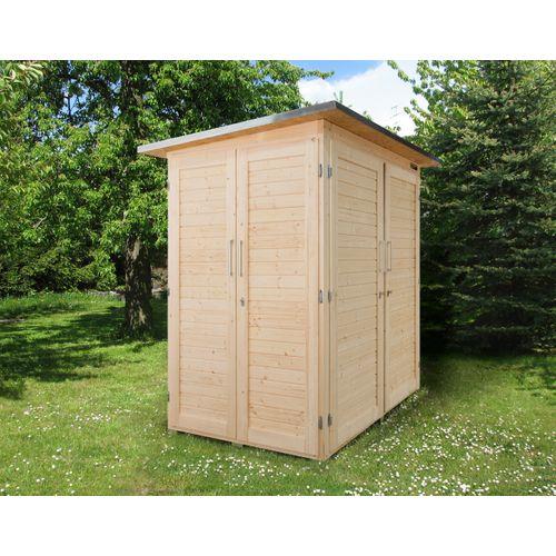Armoire de jardin Weka 'Garten Q Compact' brun 224 x 217 cm