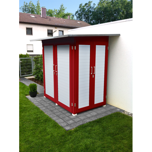 Armoire de jardin Weka 'Garten Q Compact' rouge/blanc 224 x 217 cm