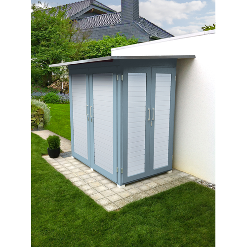 Armoire de jardin Weka 'Garten Q Compact' gris/blanc 224 x 217 cm