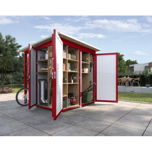 Armoire de jardin + auvent Weka 'Garten Q Multi' rouge/blanc 224 x 217 cm