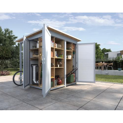 Armoire de jardin + auvent Weka 'Garten Q Multi' gris/blanc 224 x 217 cm