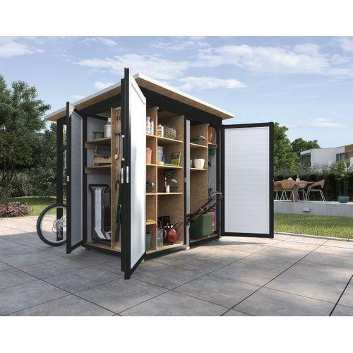 Armoire de jardin + auvent Weka 'Garten Q Multi' anthracite/blanc 224 x 217 cm