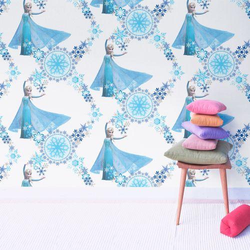 Disney Papierbehang Frozen Snowqueen blauw