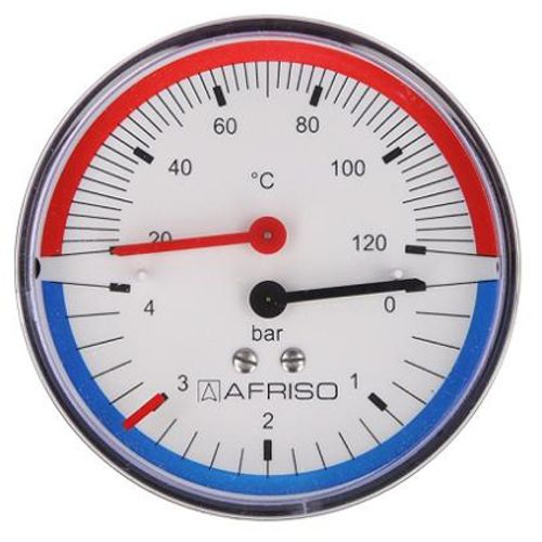 """Thermo-manometer axiaal 0-2,5/4 bar, 20-120°C, 80 mm, 1/2"""""""
