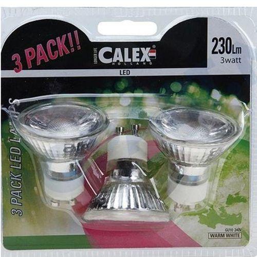 Calex COB LED lamp GU10 240V 3W 230lm 2800K, blister 3 stuks