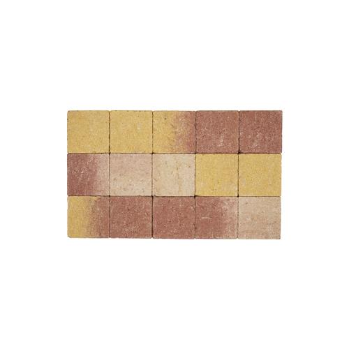 Pave tambouriné in-line brun jaune 15x15x6