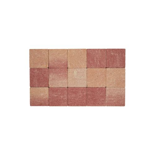 Pavé tambouriné Coeck in-line 15x15x6cm rose-rouge