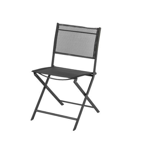 Chaise bistro Central Park Stacy acier textilène anthracite