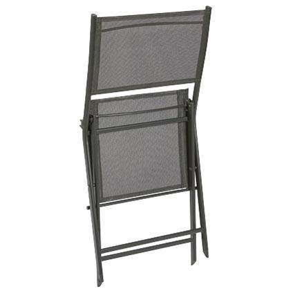 Chaise bistro Central Park 'Stacy' textilène / acier laqué anthracite 46 x 81 cm