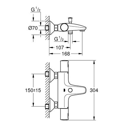 Grohe thermostatische badmengkraan Precision Start chroom