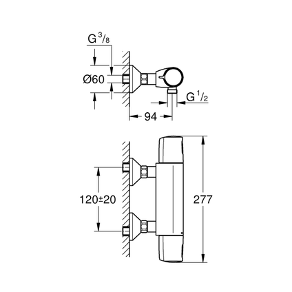 Grohe thermostatische douchemengkraan Precision Trend 12cm chroom