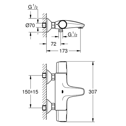 Grohe thermostatische badmengkraan Precision Trend chroom
