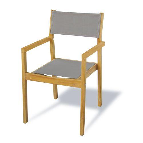 Chaise de jardin Central Park 'Grazia' pliable textilène/teck brun