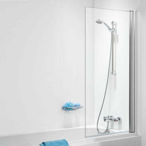 Pare baignoire 1 volet + paroi fixe Sealskin Get Wet S105 aluminium argenté poli 100x140cm|6mm verre sécurit transparent
