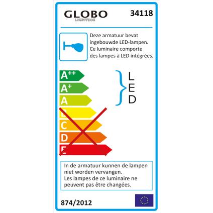 Globo Bouwlamp zwart 650 lumen
