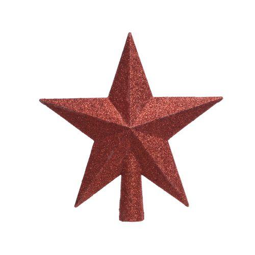 Cimier étoile Decoris plastique rouge 19cm