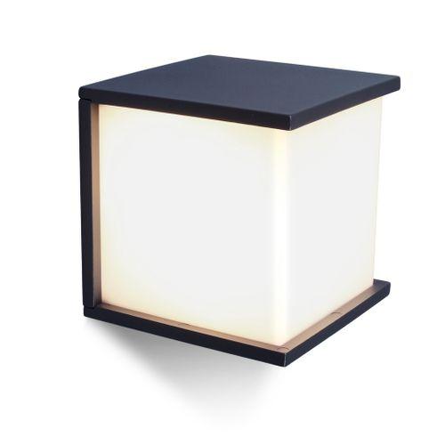 Lutec buiten wandlamp Cube antraciet 60W