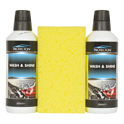 Protecton wash & shine set 2x 500ml met spons