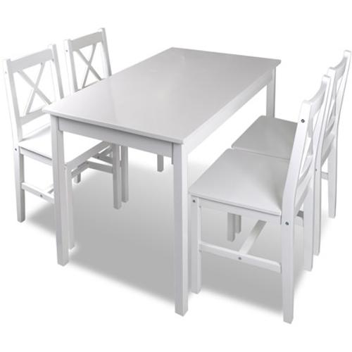 Houten eettafel met 4 stoelen wit