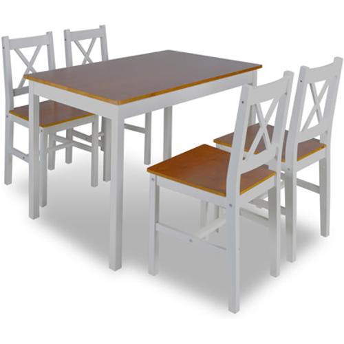 Houten eettafel met 4 stoelen bruin.