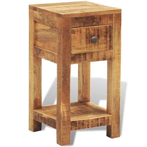 Massief houten bijzettafeltje met één lade