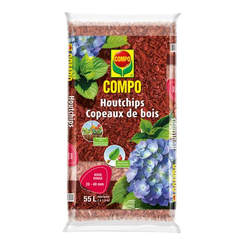 Compo houtchips rood 55L