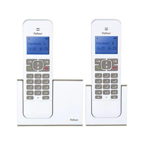 Profoon draadloze design DECT telefoon PDX-8420 wt/e duo