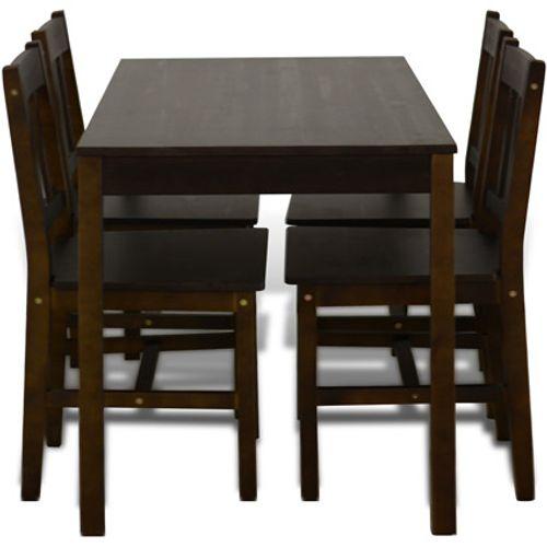Houten eetkamertafel met vier stoelen (bruin)