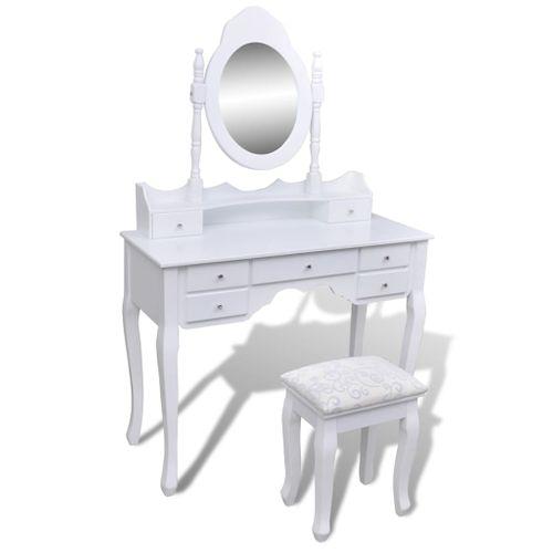 Kaptafel met spiegel, kruk met 7 lades wit XXL