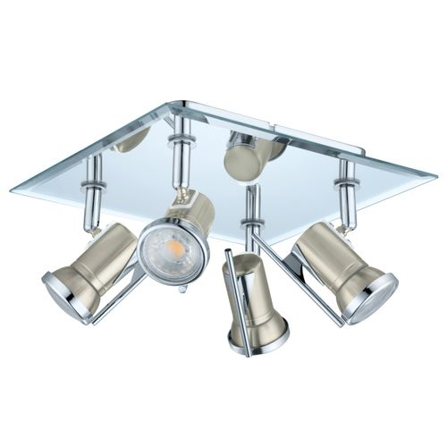 Eglo spotlamp 'Tamara 1' nikkel/chroom 4 x 3,3 W