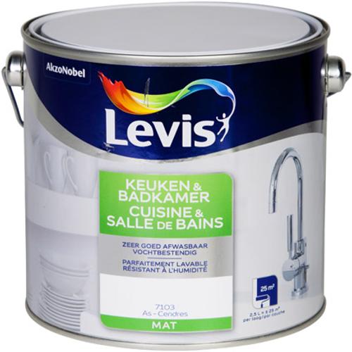 Peinture murale Levis 'Cuisine et Salle de bains' cendres mat 2,5L