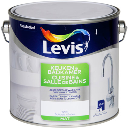 Peinture murale Levis 'Cuisine et Salle de bains' bulles mat 2,5L