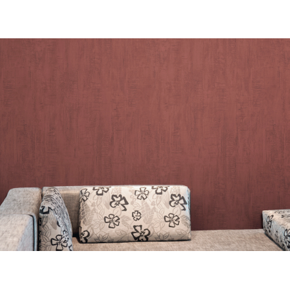 Papier peint vinyle 'Roma' rouge 53 cm x 10 m