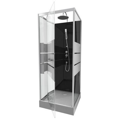 Cabine de douche Aurlane Study chrome 80x80x219-230cm