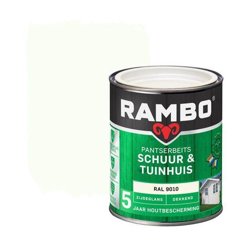 Rambo pantserbeits schuur en tuinhuis zijdeglans dekkend RAL 9010 750ml