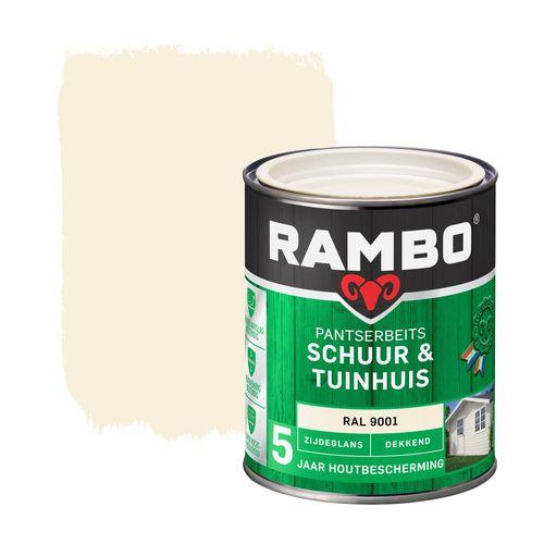 Rambo pantserbeits schuur en tuinhuis zijdeglans dekkend RAL 9001 750ml