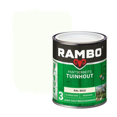 Rambo pantserbeits tuinhout zijdeglans dekkend RAL 9010 750ml