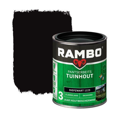 Rambo pantserbeits tuinhout zijdeglans dekkend diepzwart 750ml